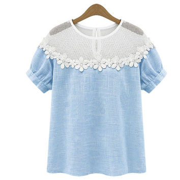 Blue or Gray Daisy Detail Blouse