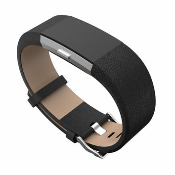 For Fitbit charge 2 leather bands Accessories Leather Bands strap for Fitbit Charge 2 Fits 5.9-8.1 inch Black color