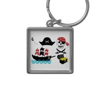 Pirates Silver-Colored Square Keychain