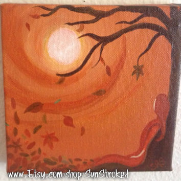 Fall, 6x6, abstract, acrylic, original painting, FREE SHIPPING, autumn, Mabon, Samhain, Halloween, fall equinox