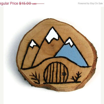 10% off Etsy SALE The Hobbit Hole Wood Burned Hand Painted Art, Beaver Chew Wood Scrap, One Of A Kind Maple, The Hobbit,  Lord Of The Rings