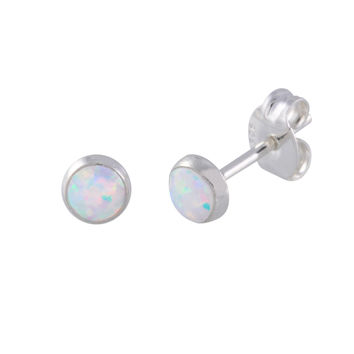 Sterling Silver Opal Earrings Iridescent Pearl Gemstone Studs 5mm Round