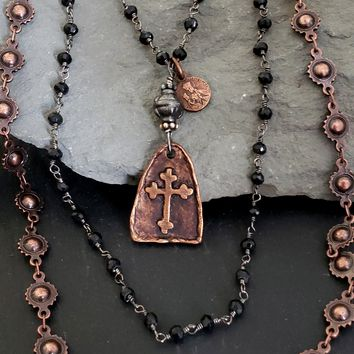 Edgy Black Bead Delicate Rosary Chain Antique Copper Cross Necklace