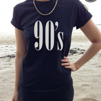 90's Nineties Style Printed T-shirt Top in White, Black or Grey - Size S, M and L DOPE CELINE SWAG