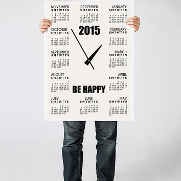 2015 calendar art, Wall calendar, Black and white art print, Minimalist poster, Christmas gift, Quote poster, Be happy