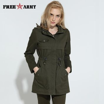 Autumn New Arrival Trench Coat Women Double-Breasted Turn-Down Collar Medium Style Long Trench Cotton Women's Outwears WGS-8655