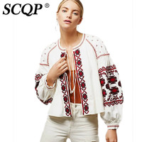 SCQP Geometric Floral Embroidered Ethnic Jacket Lady Autumn White Vintage Women Coats And Jackets Lantern Sleeve Lace up Kimono