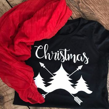 Christmas T-shirt Christmas tree graphic women fashion pretty gift slogan tees girl gift party style festival tumblr top shirt