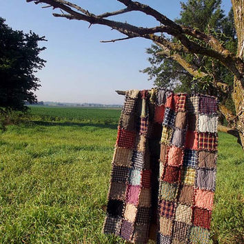 Patchwork Rag Quilt Throw - Made to Order, Rustic Handmade Patchwork Primitive Western Throw Quilt