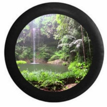 Full Color Jungle Rainforest Oasis Waterfall Hidden Lake Hiking Scene RV Camper Jeep Spare Tire Cover