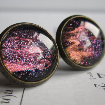Magma - Earring studs - science jewelry - science earring - galaxy jewelry - physics earrings - fake plugs - plug earrings - nebula stud