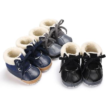 Fashion Online Free Shipping Baby Girls Boys Winner Shoes Soft Sole Pu Leather Lace Up Snow Boots Warm Crib Anti-slip Toddler Shoes Es