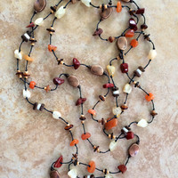 Long Boho Necklace, Terracotta Stones, Stone Necklace, Knotted Necklace, Wooden Beads, Rustic Necklace, Bohemian Necklace, Cooper, Beaded