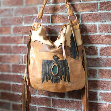 Brown fringed leather tribal eagle aztec navajo southwestern motorcycle bag motor bag native indians turquoise boho festival western bird