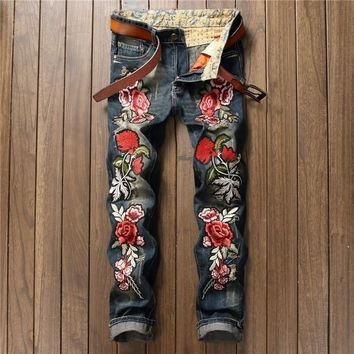 2017 New Designer Men Jeans Famous Brand Italian luxury Rose Embroidered Jeans  Slim Fit Mens Printed Jeans Biker Denim Pants