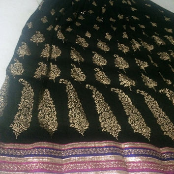 Ankle length Gypsy Indian Skirt, boho Skirt, Bollywood Skirt, gold stamp printed skirt with border