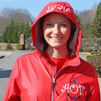 Sorority New Englander Raincoat with Anchor for Alpha Omicron Pi in Curlz Monogram