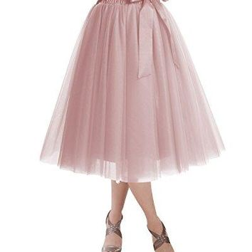 DRESSTELLS Knee Length Tulle Skirt Tutu Skirt Evening Party Gown Prom Formal Skirts Blush L-XL