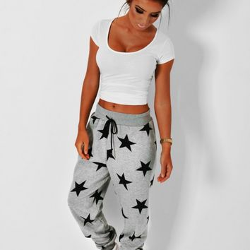 Cosy Dream Grey Star Print Elasticated Sweat Pants   Pink Boutique