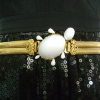 SCHREINER NEW YORK Oval Domed Snow White Milk Cabochon Glass Super Cute Turtle Buckle Layered Gold T Snake Chain Coil Belt Interesting Piece