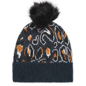 Leopard Knit Beanie Hat - Hats - Bags & Accessories