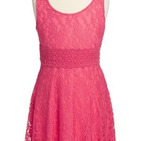 Girl's Zunie Sleeveless Lace Skater Dress