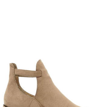 Side Kicks Suede Cutout Ankle Boot- Taupe