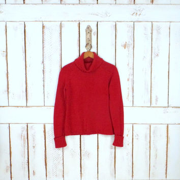 Vintage 90s red cotton woven knit turtleneck pullover sweater/chunky red sweater/small/medium