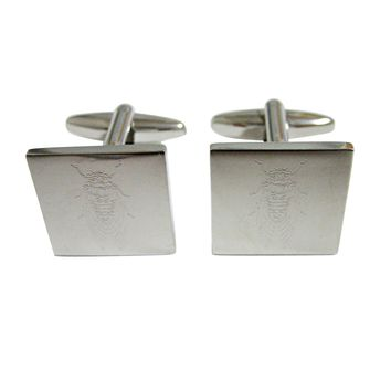 Silver Toned Etched Cicada Bug Cufflinks