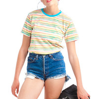 Vintage 90's Honor Brite Striped Baby Tee - XS