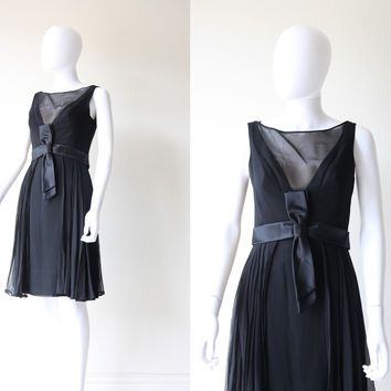 Vintage 50s 60s Little Black Bombshell Cocktail Party Chiffon Bow Dress