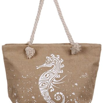 Elephant Burlap Soft Rope Beach Bag