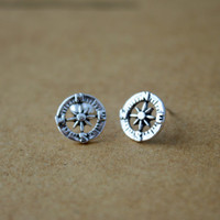 Sterling Silver Compass Stud Earrings - Compass Jewelry - Compass Earrings - Silver Compass Earrings - Nautical Earrings - Steampunk studs