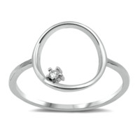 O Circle Ladies Ring Size 4-10 in .925 Sterling Silver CZ