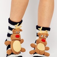 ASOS NORTH STAR Reindeer Slipper Socks