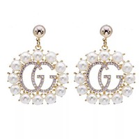 GUCCI New Fashion Women Personality Diamond Pearl GG Letter Earrings Accessories Jewelry