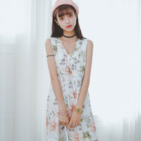 Green Floral Neck-Tie Chiffon Mini Dress