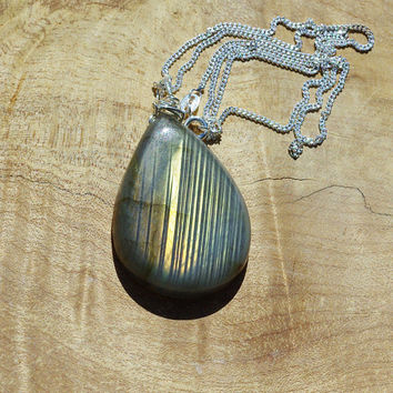 Labradorite Teardrop Stone Pendant on a Sterling Silver Chain ~ Grey Yellow Green Iridescent Stone  ~ Canadian Gemstone ~ Aurora Borealis
