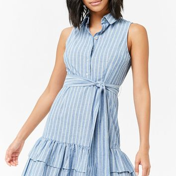 Striped Flounce-Hem Dress