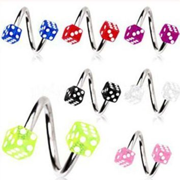 ac PEAPO2Q Isayoe Free Shipping Acrylic Dice Spiral Twister Rings tragus ring Lip Ring nose ring Earring Labret Body Piercing Jewelry