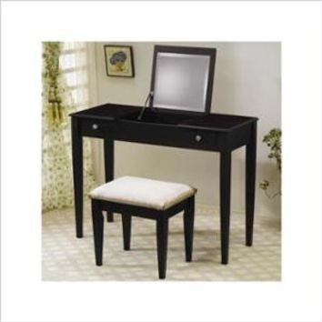 Walmart: Coaster Wood Two Drawer Makeup Vanity Table Set with Mirror in Dark Brown