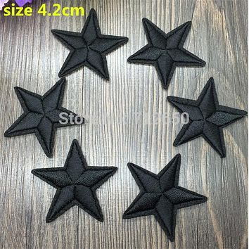 WL New arrival 10 pcs Black Color little star Embroidered patches iron on cartoon Motif Applique embroidery accessory