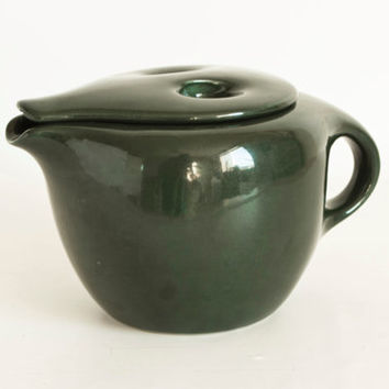 Vintage Russel Wright Iroquois After Dinner Coffee Pot, Parsley Dark Green Mid Century Modern Teapot