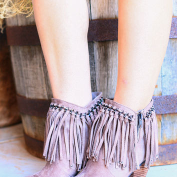 TALK OF THE FESTIVAL FRINGE BOOTIES IN TAUPE