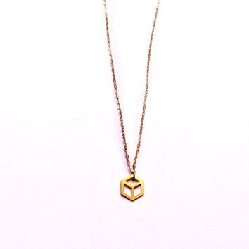 Gold Cube Necklace Tiny Cube Pendant Necklace Icon Jewellery Design Chic Art Logo Necklace Beep Studio Jewellery Gold Plated Small Minimal