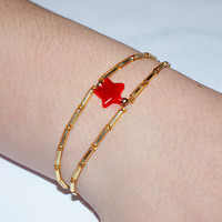 PACK of 10 Wonder Woman Bracelets: The Every Day Wonder Woman Bracelet... Gold with RED or PINK Star...Birthdays, Empowerment Girls Womens