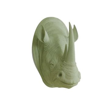 The Large Serengeti Sage Green Faux Taxidermy Resin Rhino Head Wall Mount | Sage Green Rhinoceros w/ Colored Horns