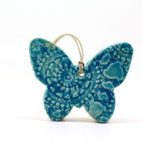 Christmas ornament Turquoise butterfly ornament Christmas tree ornament Holidays decor Wall hanging