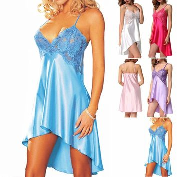 Womens Sleepwear Satin Chemise Night Dress Slips Nightgown Babydoll Nightie