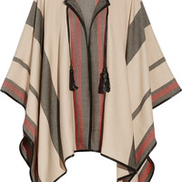 Talitha - Leather-trimmed cashmere and wool-blend cape